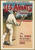 "Wall Calendar 2020 [12 pages 8""x11""] Tennis Vintage Sport Ads Poster Advert"