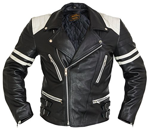 MDM Retro Motorrad Lederjacke 80´s Oldschool erhältlich (XL, schwarz/weiß)