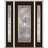 National Door Company ZZ14180L Steel, Brown, Left Hand in-Swing, Exterior Prehung Door, Heirloom Master Full Lite, 36'x80' with 12' Sidelites