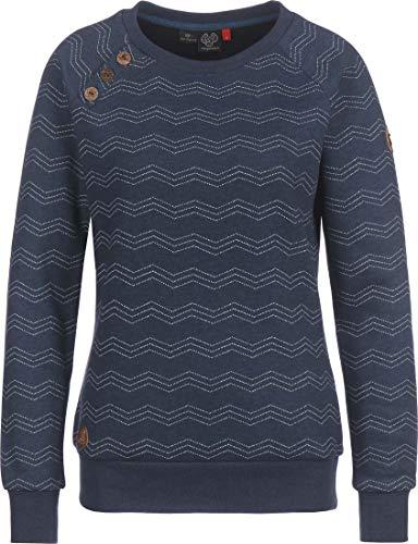 Ragwear Sweatshirt Damen DARIA Zig ZAG 2021-30005 Dunkelblau Navy 2028, Größe:XL