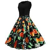 Moent Moent - Vestido de mujer con estampado de frutas sin mangas, vintage de los años 50, elegante,...