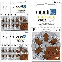 Audilo Piles Auditives 312 (PR41) | Pour Appareil Auditif et Aide Auditive [ Longue Durée] [1.45V] [Zinc Air] [Sans...