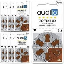 Audilo Piles Auditives 312 (PR41)   Pour Appareil Auditif et Aide Auditive [ Longue Durée] [1.45V] [Zinc Air] [Sans Mercure] Lot de 60 Piles pour Prothèse Auditive
