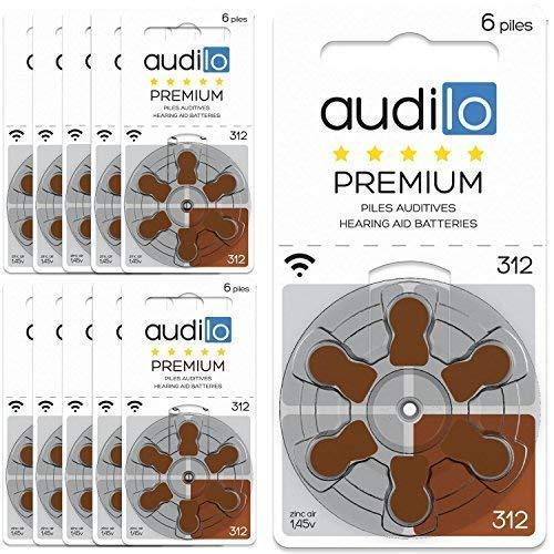 Audilo Piles Auditives 312 (PR41) | Pour Appareil Auditif et Aide Auditive [ Longue Durée] [1.45V] [Zinc Air] [Sans Mercure] Lot de 60 Piles pour Prothèse Auditive