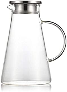 XIAOHU GE Glass Pitcher Pot With Lid 2L Carafe Lead-Free Borosilicate Glass Pitcher Kettle With Crystal Handle And Stainless Steel Lid Pitcher Suitable 2000Ml