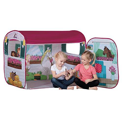 John 77012 - Tenda da gioco Horse Club con figura originale Schleich – Stalla per cavalli, caravan, tenda per bambini, casetta con motivo stampato per bambini