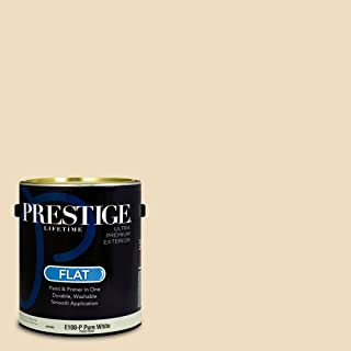 Prestige Paints E100-P-SW6386 Exterior Paint and Primer in One, 1-Gallon, Flat, Comparable Match of Sherwin Williams Napery, 1 Gallon,