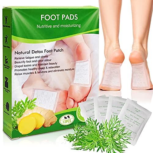 J TOHLO Detox Fußpflaster Detox Pflaster Fuß Mit Bambusessig fördert die Durchblutung und lindert Müdigkeit zum Entfernen von Körpergiften mit selbstklebenden Blättern(12PCS)