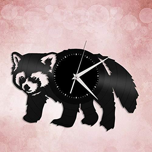 Panda Rojo Reloj de Pared de Vinilo Amantes de los Animales Decoración de la habitación del hogar Diseño Vintage Oficina Bar Habitación Decoración del hogar Decoración única