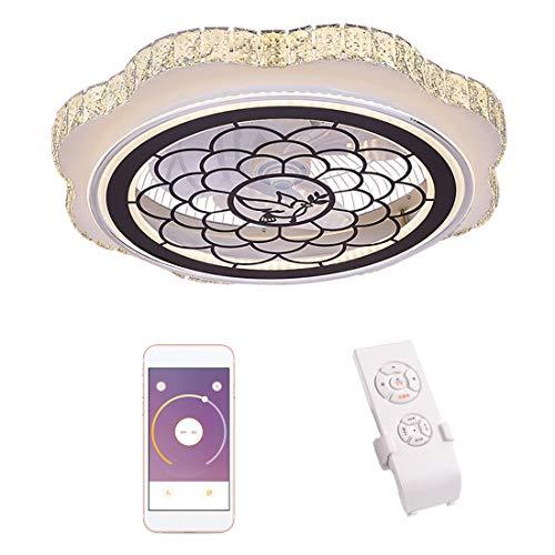 Dxyap Luz de Ventilador de Techo, Lámpara de Techo de Cristal con Ventilador Invisible, Ventiladore de Techo Ultrafino y Silenciosos con Lámpara, Lámpara de Techo de 32W, D60cm * H18cm