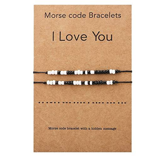 2 pulseras a juego con texto 'Ich liebe dich Morsecode', par de pulseras ajustables para novio, novia, pareja, joyas para él / ella / niña / mujer.