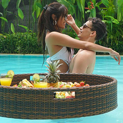 Floating Serving Trays Table Bar XLge Round - Swimming Pool Floats for Adults...