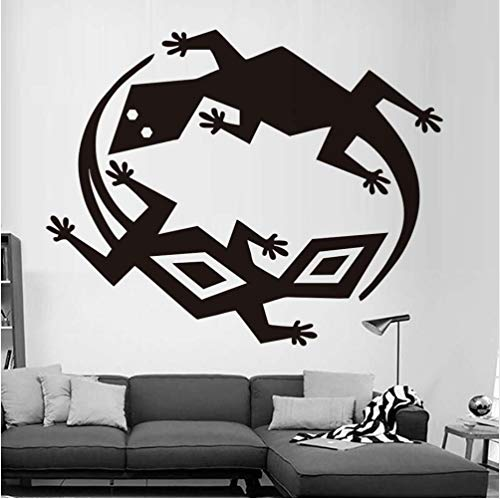 Twee verschillende hagedissen muurstickers PVC verwijderbare muursticker doe-het-zelf slaapkamer zelfklevend behang kunst ontwerp huisdecoratie 58 * 73cm
