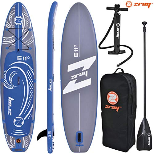 Zray E11 Stand up paddle gonflable Dropstitch Adulte Unisexe, Bleu Gris, 335x81x13cm