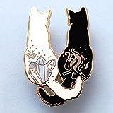 Broches Y Alfileres para Niña,Joyería De Moda Negro Blanco Gato Color Piedra Cola Llama Copo De Nieve Esmalte Pin Camisa Creativa Insignia Broche Accesorios Regalo para Amigos