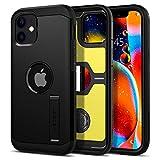 【Spigen】 iPhone 12 ケース/iPhone 12 Pro ケース 6.1インチ 対応 米軍MIL規格取得 耐衝撃 三層構造 スタンド付き スマホスタンド カメラ保護 傷防止 衝撃 吸収 Qi充電 ワイヤレス充電 アイフォン12 ケース アイフォン12プロケース カバー シュピゲン タフ・アーマー (ブラック)