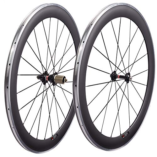LOLTRA 700C Road Bike Wheels with Alloy Brake Track 38/50/60/80mm Clincher 23mm Wide Carbon Fiber Wheels with Alloy Brake Surface A271SB F372SB V-Brake Hub(60mm Clincher)