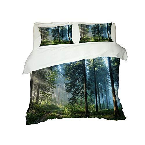 YANPAN Bettwäsche 3D Wald Bettbezug 220X260Cm Bettwäsche Set 3 Teilig Bettbezüge Mikrofaser Bettbezug Mit Reißverschluss Und 2 Kissenbezug 50X75Cm