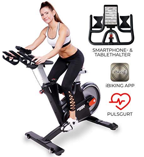 Miweba Sports MS600 Pro - Bicicleta estática profesional, control mediante aplicación, freno magnético de corriente vertebral, correa de pulso