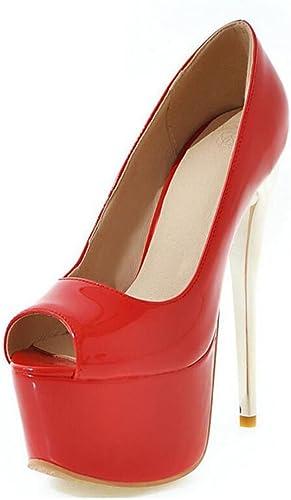 Femmes Pompe Simple Chaussure à Talon Haut 16 Cms ImperméAble à La Chaussure Peep Toe Crystal Sandales En Cuir Verni Talon Conique Chaussures Grande Taille 34-48 ( Couleur   Wine rouge , Taille   36 )