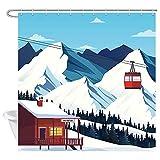 TEPET Winter Ski Duschvorhang, Moderne Skistation Schnee Berg Kiefer Wald Urlaub Badevorhänge, Premium Stoff Blau Christ