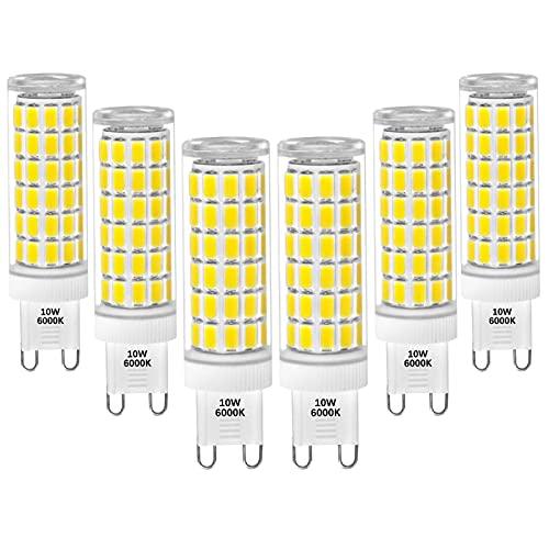 JZlamp Bombilla de luz de cápsula LED G9 de 9W 800Lm Reemplace la lámpara halógena de 60W Blanco frío 6000K AC100-265V No Regulable (6pcs),Warm White,9W