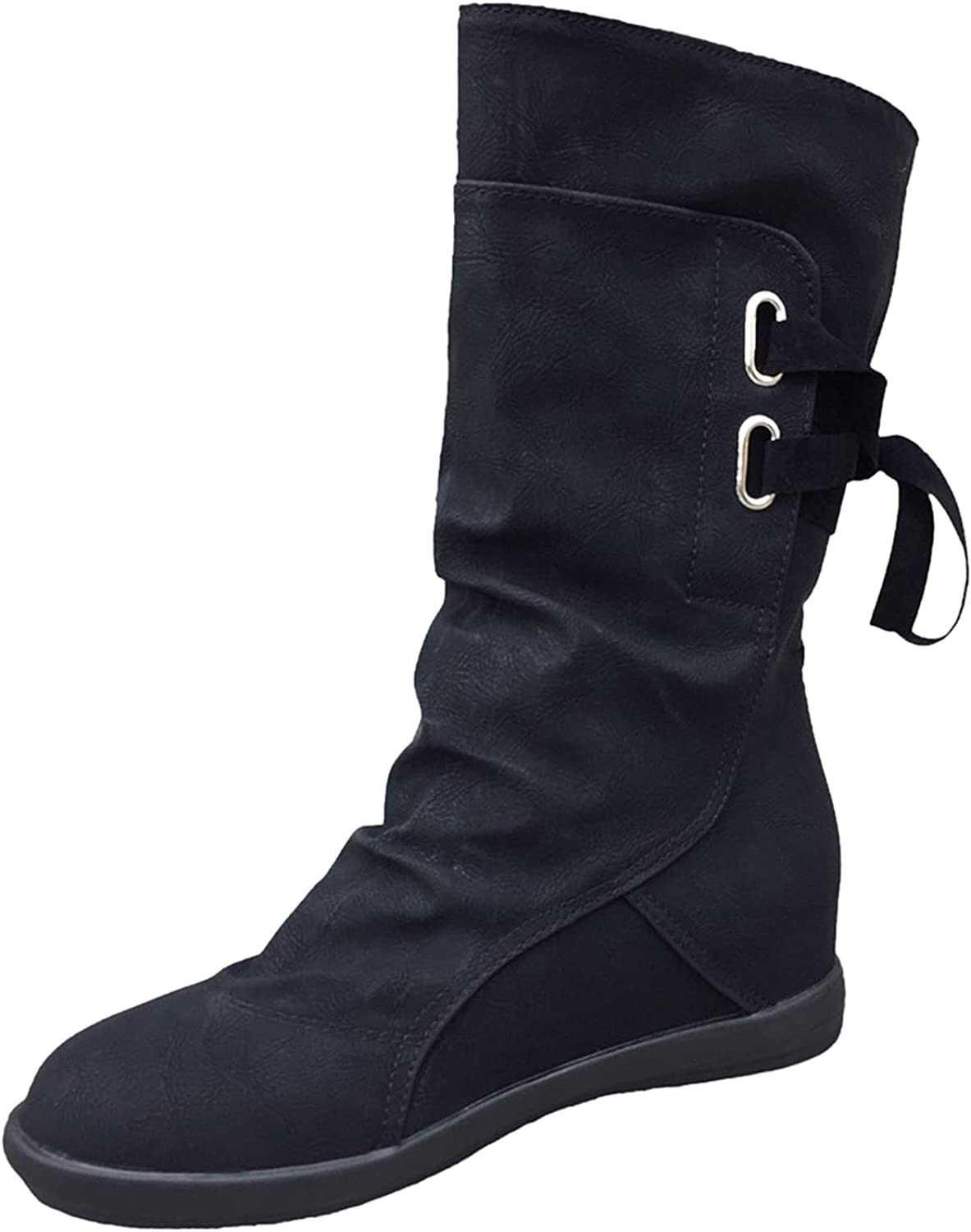 Boots for Women,Women's Knight Boots Retro Lace Up Roman Midi Tube Booties Low Heel Round Toe Outdoor Wedge Shoes
