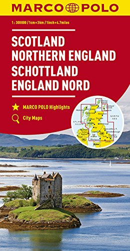 Marco Polo Schotland - Noord-Engeland: Wegenkaart 1:300 000