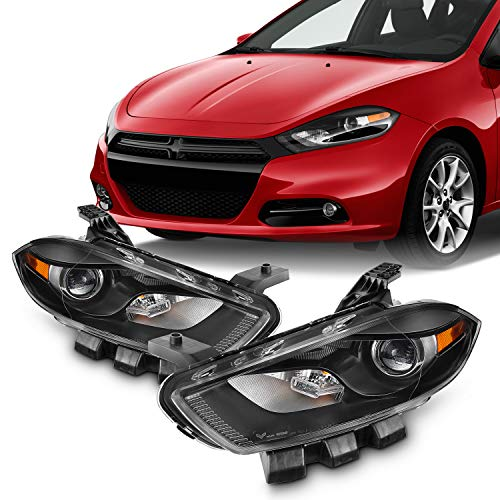 For 2013 2014 2015 2016 Dodge Dart [Halogen Type] Black Headlights Left+Right Pair