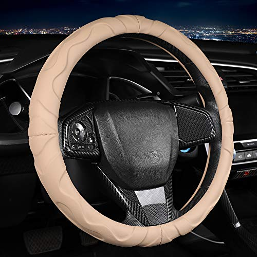 Ergonomic Microfiber Leather Steering Wheel Cover with Grip Bumps, Beige, 15 Inch Standard Steering Wheel Cover for Car, Truck, SUV Automotive Interior Decoration Sports