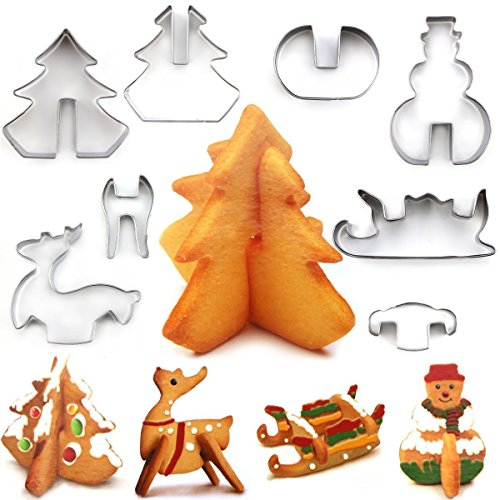 Nifogo Plätzchen Ausstecher, Ausstechformen, 8 Pack Edelstahl Keksausstecher, Torten Deko, Fondant Ausstecher Backzubehör für Kuchen Plätzchen Gemüse Obst