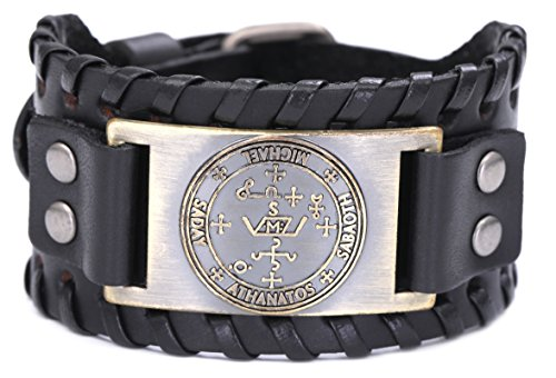 fishhook The Sigil of The Archangel Michael for Protection Courage Power and Strength Bangle Leather Bracelet (Antique Bronze,Black)
