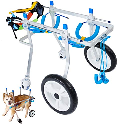 wheelchair carts HobeyHove Adjustable 4-Wheel Large Dog Cart/Wheelchair, for Front Or Back Legs Large Dog Wheelchair,Light Weight, Easy Assemble(7-Size) (L)