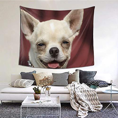 ZVEZVI Perro Chihuahua Cabeza Retrato de Pelo Corto Tapiz Rojo Arte de Pared para Sala de Estar Dormitorio decoración de Dormitorio 60ʺ × 51ʺ
