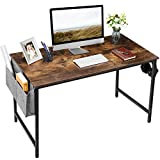 HAIOOU Computer Desk, 47' Home Office Study Desk Industrial Simple Style PC Table Small Workstation Writing Desk with Storage Bag and Metal Headset Hook for Adults, Teen, Children - Rustic Brown