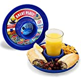 GREATPLATE Plastic Plate with Drink Holder Set of Six Food Tray and Beverage Holder for Parties Reusable Heavy Duty and BPA Free Plastic 10 Inch 6 Pack Blue