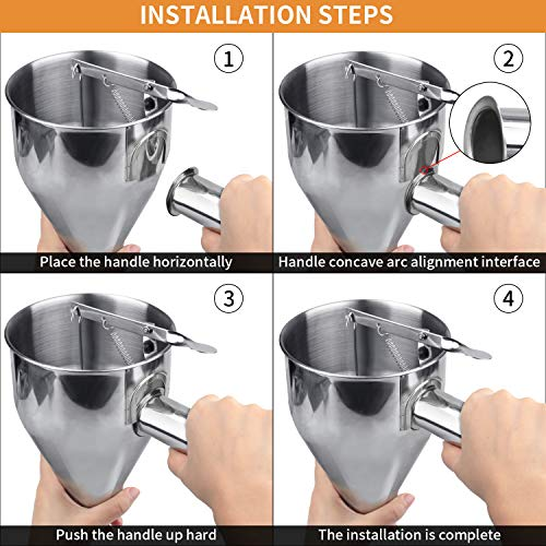 MyLifeUNIT Stainless Steel Pancake Batter Dispenser, Funnel Dispenser with Stand for Takoyaki and Baking