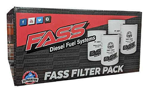 FASS Titanium Series Fuel Filter & Water Seprator Pack Combo Of 4 | (2) XWS-3002 | (2) PF-3001