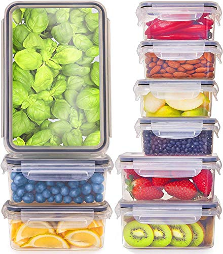 Fullstar (9 Pack) Food Storage Containers with Lids - Plastic Food Containers with Lids - Plastic Containers with Lids BPA-Free - Leftover Food Containers - Airtight Leak Proof Food Container