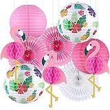 Tacobear Hawai Deko Tropische Sommer Flamingo Party Deko Hängende Flamingo Wabenball Papierlaternen Papierfächer Deko für Luau Sommer Strand Garten Party Dekoration