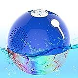 Schwimmend Bluetooth Lautsprecher, IPX7 wasserdichte Poollautsprecher mit Farblicht,Enormer Bass,Dual-Treiber, Kristallklare Freisprech Kabelloser Dusche Lautsprecher Tragbarer für Whirlpool,Spa
