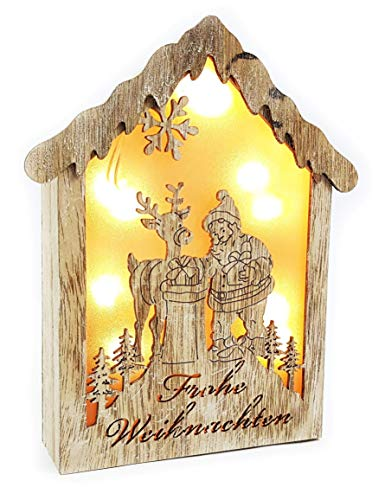 Décoration de Noël en bois lumineux LED Maison de Noël joyeuse Noël avec effet 3D Maison lumineuse Noël