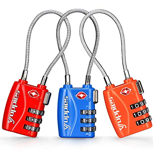 3PCS TSA Approved Luggage Locks, Suitcase Locks for Backpack, Combination Cable Lock for Baggage, High Identification and Easy to Set Password