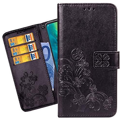 Ougger telefoonhoes voor Motorola One Action hoes, premium leer PU flip case beschermhoes voor Motorola One Action klaphoes telefoonhoes, [kaartsleuf] [standfunctie], gelukkige bladeren, Fantasie zwart