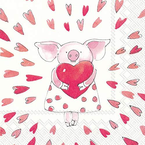 Boston International IHR Papierservietten, 3-lagig, 20 Stück, 12,7 x 12,7 cm, Piggy Love