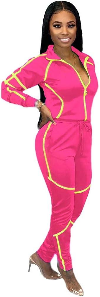 ZJFZML Women's Long Sleeve Zip Up Coat Pockets Sweatpants Sport Jogger Sweatsuit