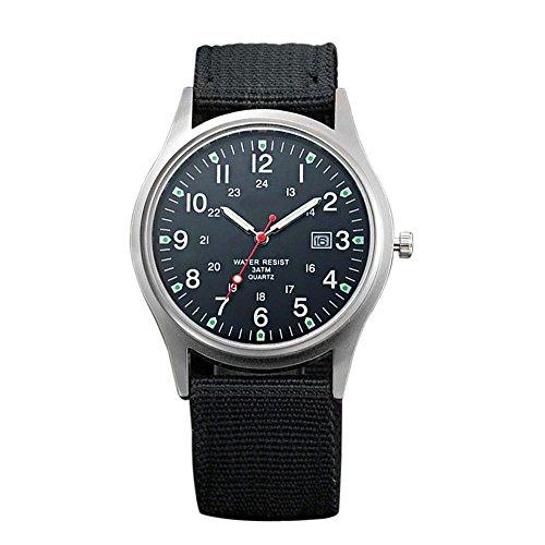 Dxlta Herren-Armbanduhr, sportlich, wasserdicht, analog, Armband aus Segeltuch Schwarz