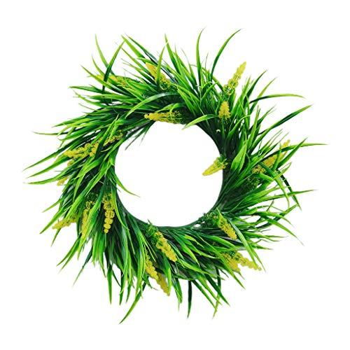 Corona de hojas verdes artificiales de 50,8 cm para puerta delantera, decoración de pared, ventana y fiesta