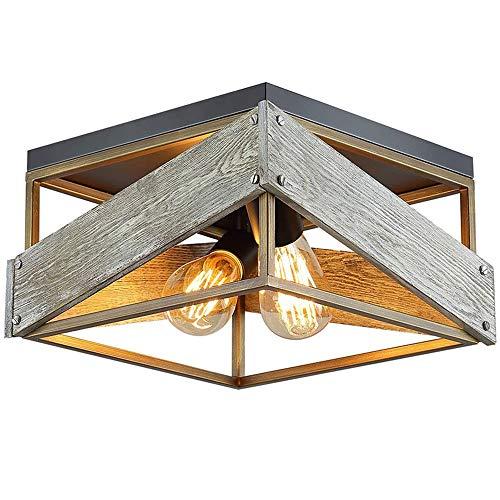 Lámpara de dormitorio Lámpara de techo Ajustable Moderno Simple Rectángulo Cagel Luz de techo Madera Hierro Creatividad Lámpara de balcón Estudio Cocina Oficina Pasillo Sala de estar,E27,32x32x17cm,C
