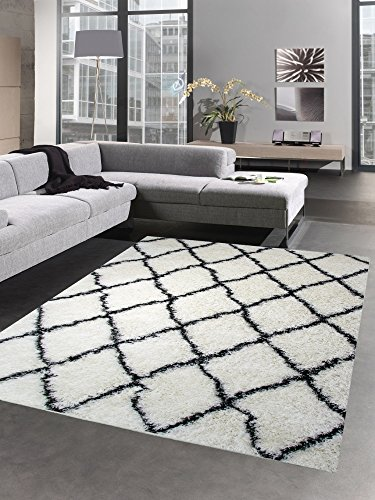 CARPETIA Shaggy Teppich Wohnzimmerteppich Hochflor Langflor Rauten Creme schwarz Größe 120x170 cm